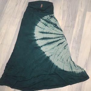 Boho Jesse & J Tie Dye Hippy Maxi Skirt Teal Sz M